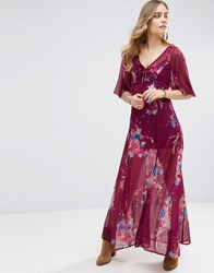 Band Of Gypsies Bouquet Maxi Dress Burgundy Teal Red