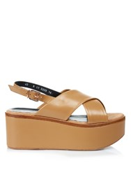 Robert Clergerie Flix Leather Flatform Sandals Light Tan