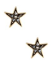 Yochi Design Hematite Star Earrings Metallic