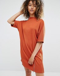 Daisy Street Relaxed T Shirt Dress With Zip Details Orange