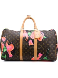 Louis Vuitton Vintage Stephen Sprouse X 'Roses Keepall 50' Holdall Brown