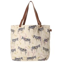 White Stuff Cotton Canvas Zebra Print Shopper Bag Multi