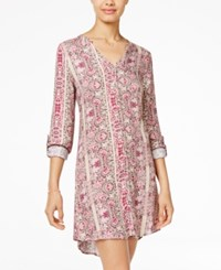 American Rag Printed Lace Up Back Shirtdress Only At Macy's Pale Pink Combo
