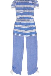 Lemlem Freya Off The Shoulder Embroidered Cotton Gauze Jumpsuit Blue