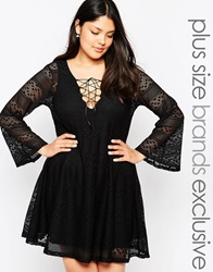 Pink Clove Lace Swing Dress With Flared Sleeves And Tie Neckline Black