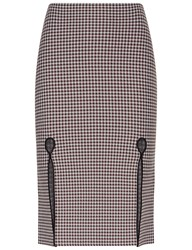 Alexander Wang Burgundy And White Check Front Slit Pencil Skirt