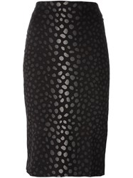 Samantha Sung Jacquard Pencil Skirt Black