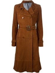 Blk Dnm Belted Flared Coat Brown