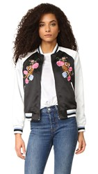 Glamorous Floral Embroidered Bomber Jacket Black