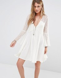 Kiss The Sky Button Front Smock Dress With Lace Panels Cream