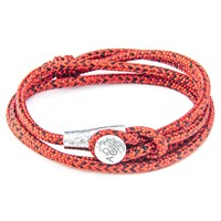 Anchor And Crew Dundee Rope Silver Braceletred Noir