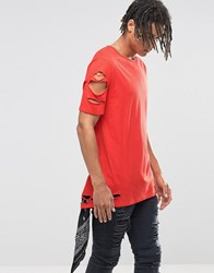 Asos Longline T Shirt With Rips And Slash Distress In Red High Risk Red
