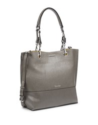 Calvin Klein Reversible Faux Leather Tote Grey Yellow