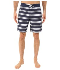 Lacoste Stripe Swim Boardshorts 8 Navy Blue White Men's Swimwear