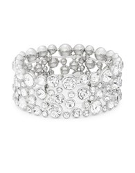 Design Lab Lord And Taylor Faceted Crystal Stretch Bracelet Silver