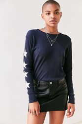 Truly Madly Deeply Starry Long Sleeve Thermal Tee Navy