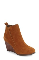 Sole Society Women's Brigitte Wedge Bootie Chestnut Suede