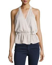 Halston Heritage Sleeveless Crepe De Chine Wrap Blouse Flint