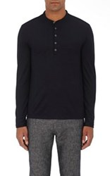 John Varvatos Men's Merino Wool Henley Shirt Black