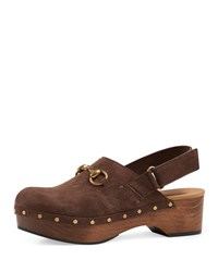 Gucci Amstel Suede Clog Maple Brown