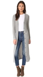 Three Dots Elaine Long Rib Cardigan Granite