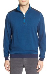 Men's Bugatchi Knit Quarter Zip Mock Neck Pullover Indigo
