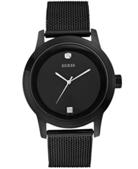 Guess Men's Diamond Accent Black Ion Plated Stainless Steel Mesh Bracelet Watch 45Mm U0297g1