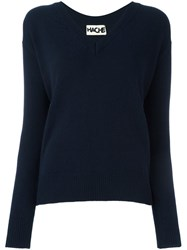 Hache V Neck Jumper Blue
