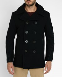 Schott Nyc Navy Leather Stitch Made In Usa Pea Coat Blue