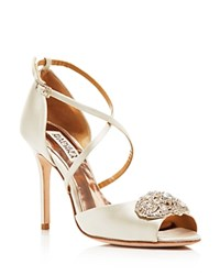 Badgley Mischka Sari Peep Toe Ankle Strap Pumps White