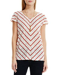 Vince Camuto Floral Pointelle Jacquard Chevron Top Red
