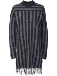 Alexander Wang T By Striped Knitted Dress Black