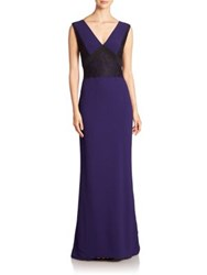 J. Mendel Lace Detail Sleeveless Gown Mulberry Noir