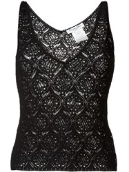 Christian Dior Vintage Lace Knit Tank Top Black