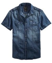 Guess Men's Denim Military Shirt Rally Blue Wash