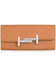 Tod's Double T Buckle Wallet Brown