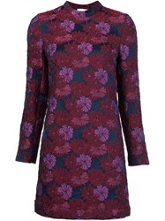 Nicole Miller Textured Flower Dress Pink And Purple