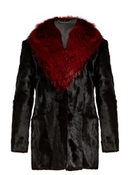 Diane Von Furstenberg Gautam Fur Jacket Black Red