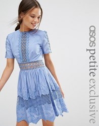 Asos Petite Lace Embroidered Cotton Dress Blue