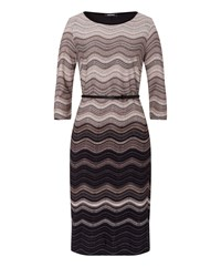 Olsen Wave Stripe Dress Beige