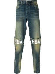 Hood By Air Logo Patch Washed Jeans Blue