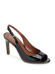 Cole Haan Juliana Peep Toe Patent Leather Slingbacks Black