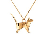 Origami Jewellery Cat Necklace Gold