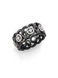 De Beers Moonlight Enchanted Lotus Diamond 18K White Gold And Black Ceramic Band Ring
