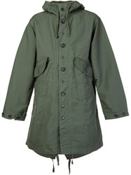 Engineered Garments Buttoned Hooded Jacket Green