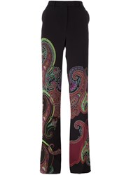 Etro Paisley Print Straight Trousers Black