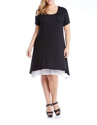 Karen Kane Plus Plus Layered Handkerchief Hem Dress Black White