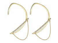 Rebecca Minkoff Pave Ear Wrap Cuff With Chain And Stud Earrings Gold Crystal Earring