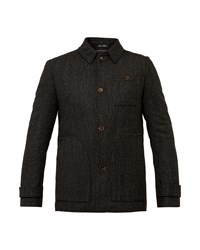 Ted Baker Robson Collared Wool Overcoat Charcoal
