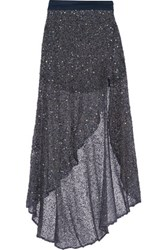 Haute Hippie Asymmetric Embellished Tulle Maxi Skirt Storm Blue